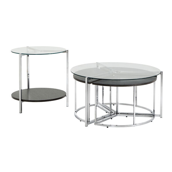 Alexia Chrome Cocktail Table Set with Glass Top, image 1
